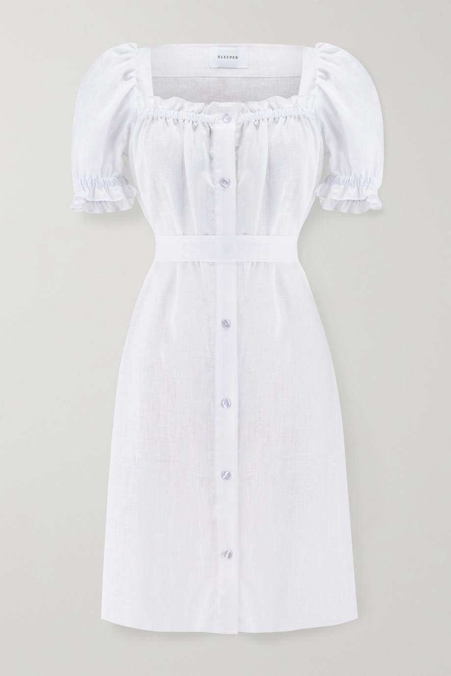 Sleeper Brigitte belted ruffled linen mini dress