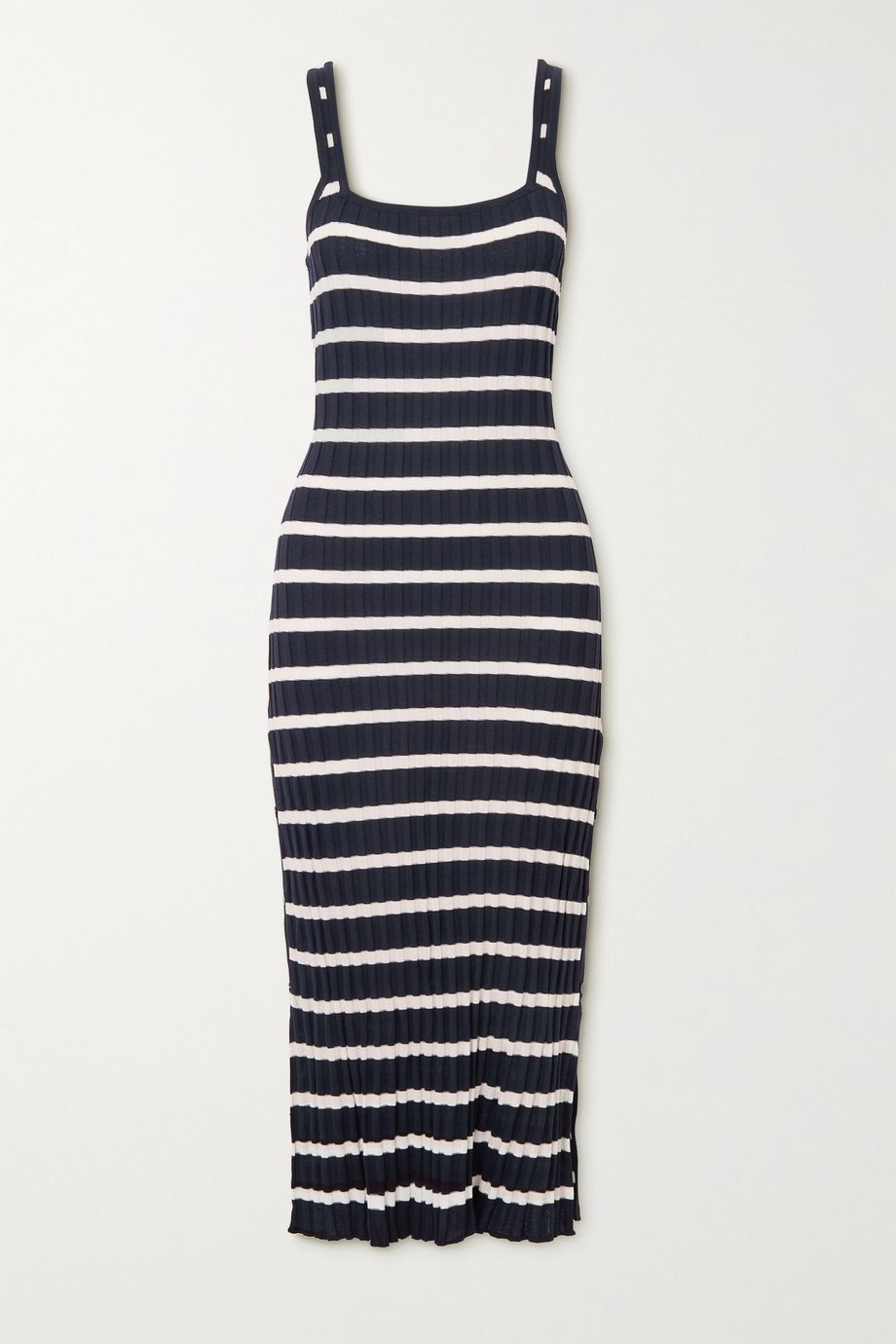 Solid & Striped The Kimberly striped ribbed-knit midi dress