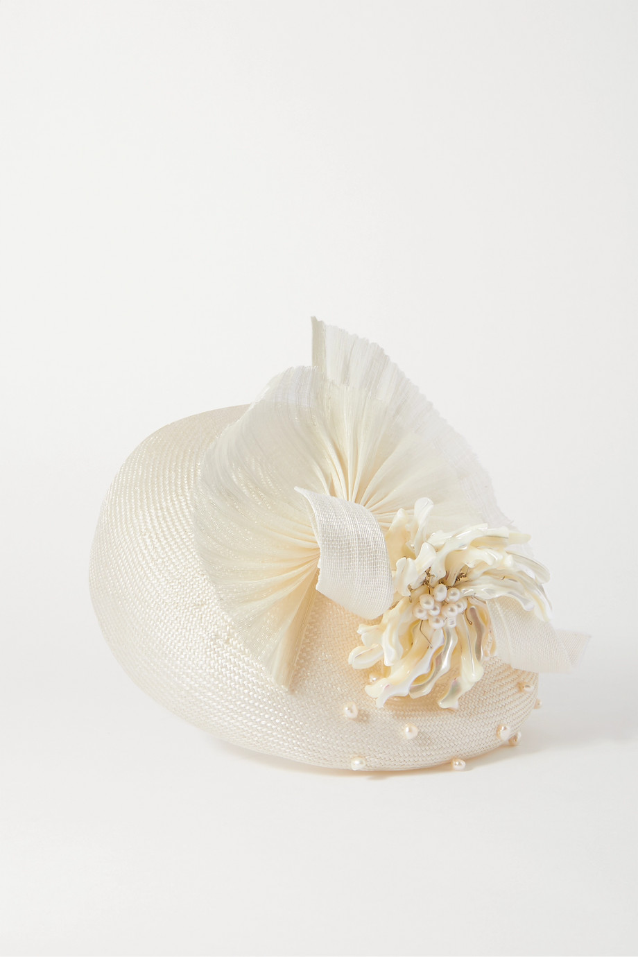 Merve Bayindir Anne pearl-embellished silk and abaca-blend hat