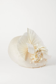 Merve Bayindir Anne pearl-embellished silk and abaca-blend hat