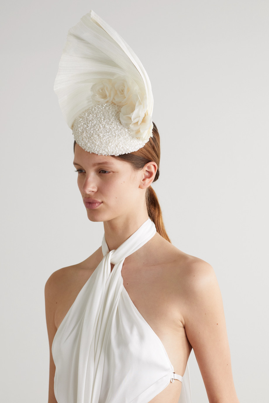 Merve Bayindir Rosalind sequin-embellished tulle and Pinokpok fascinator