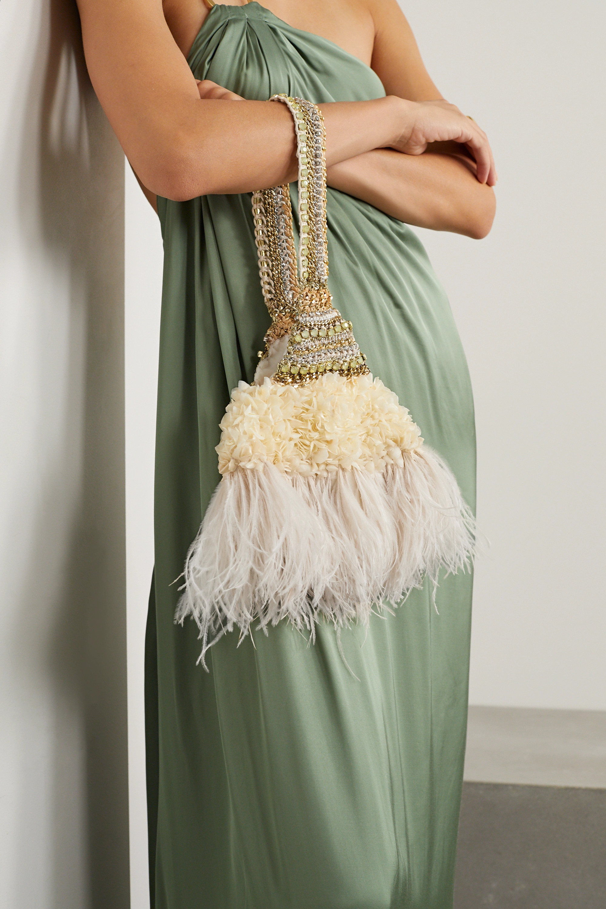 Nannacay Laine faux feather-trimmed embellished velvet tote