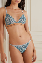 Love Stories Reggipetto leopard-print stretch-tulle soft-cup triangle bra