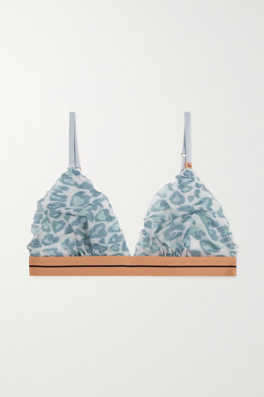 Love Stories Reggipetto leopard-print stretch-tulle soft-cup triangle bra