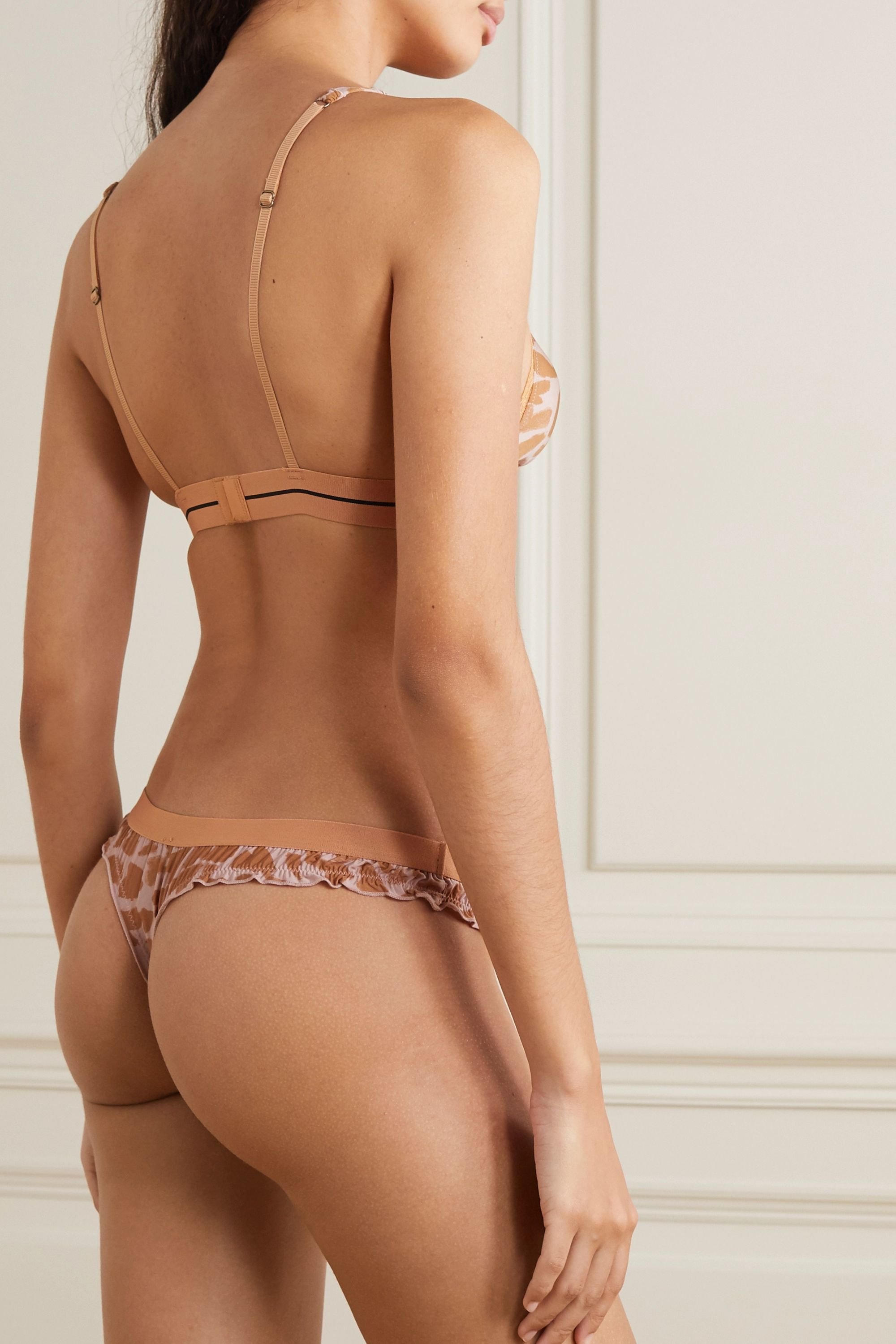 Love Stories Ellie ruffled printed stretch-jersey thong