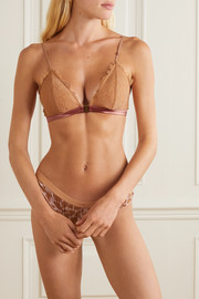 Love Stories Hazel satin-trimmed stretch-lace and stretch-jersey soft-cup triangle bra
