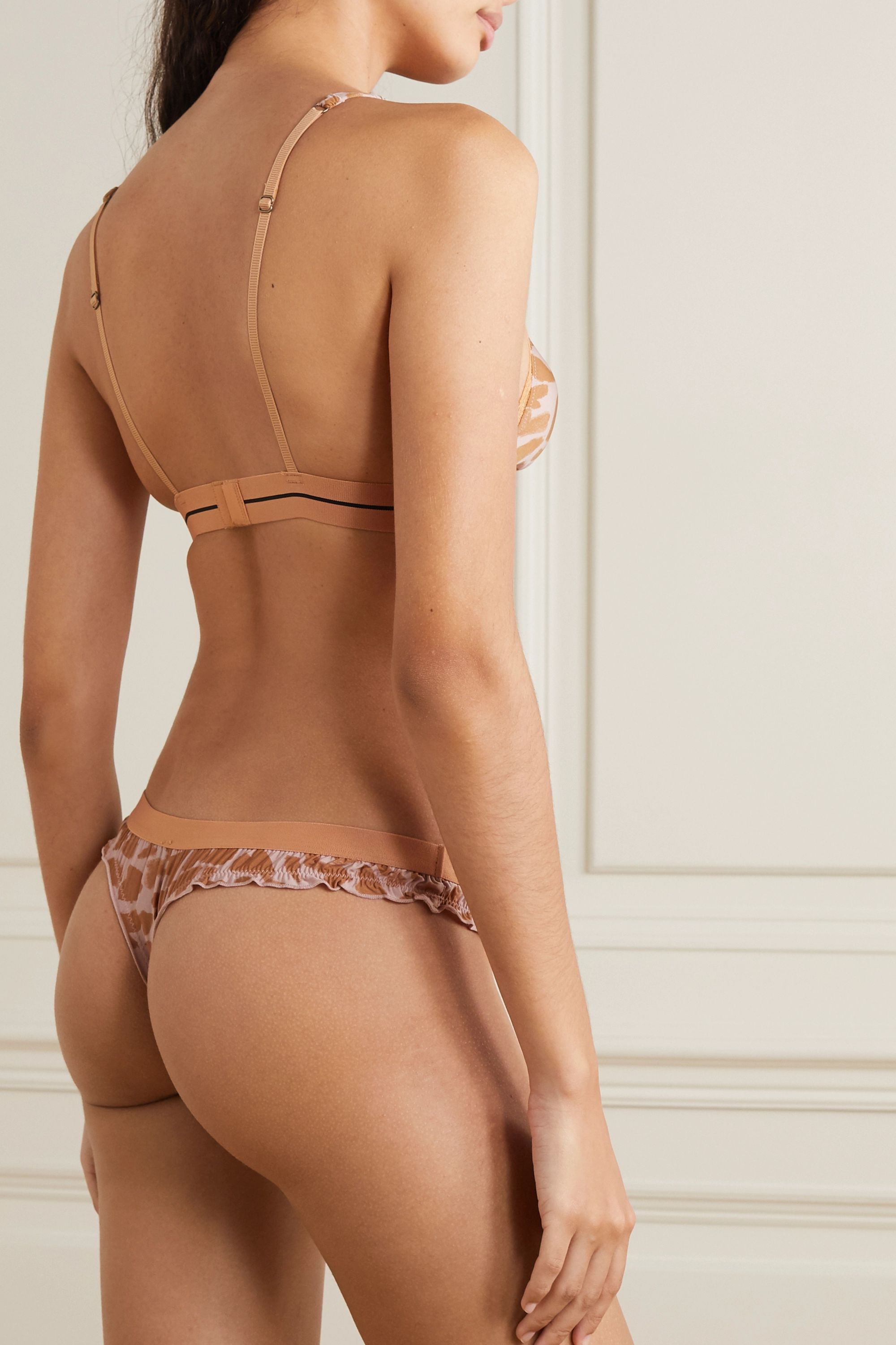 Love Stories Filippa lace-trimmed printed stretch-jersey soft-cup triangle bra