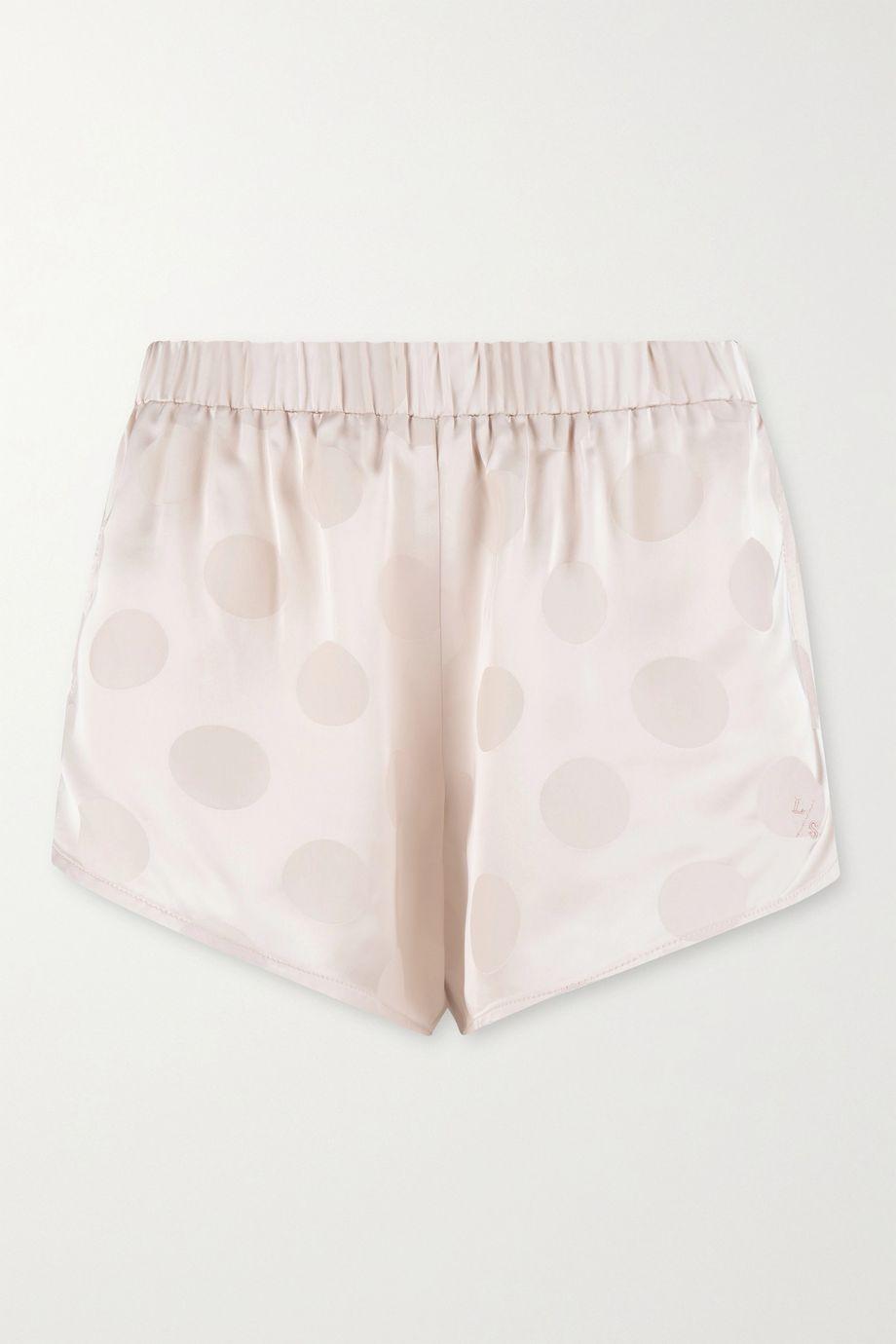 Love Stories Cotton Candy polka-dot satin-jacquard pajama shorts