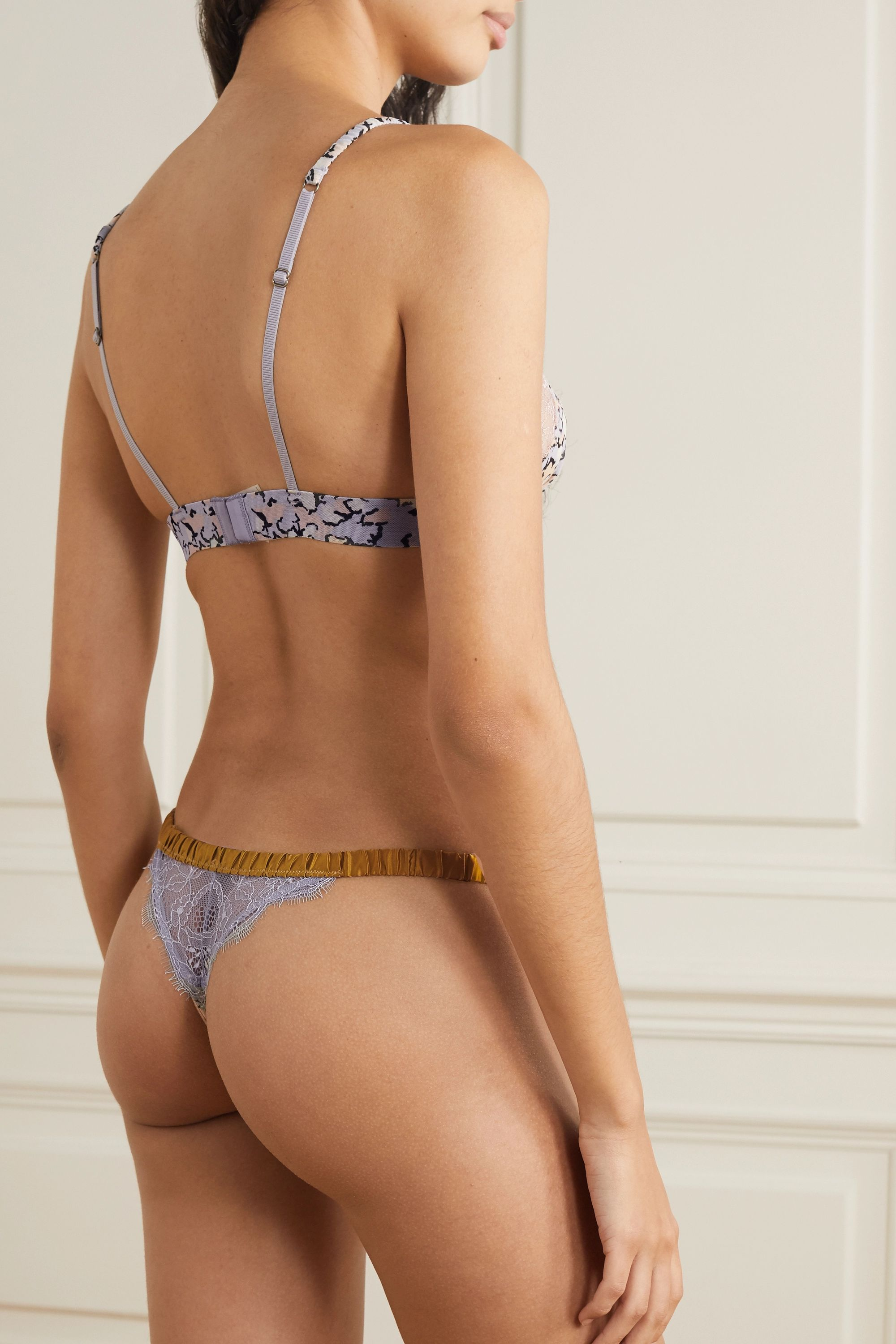 Love Stories Room Service satin and lace-trimmed printed stretch-tulle thong