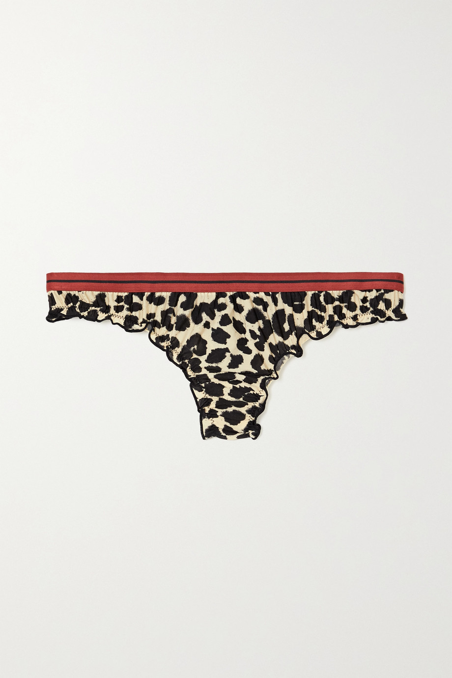 Love Stories Ellie ruffled leopard-print stretch-jersey thong