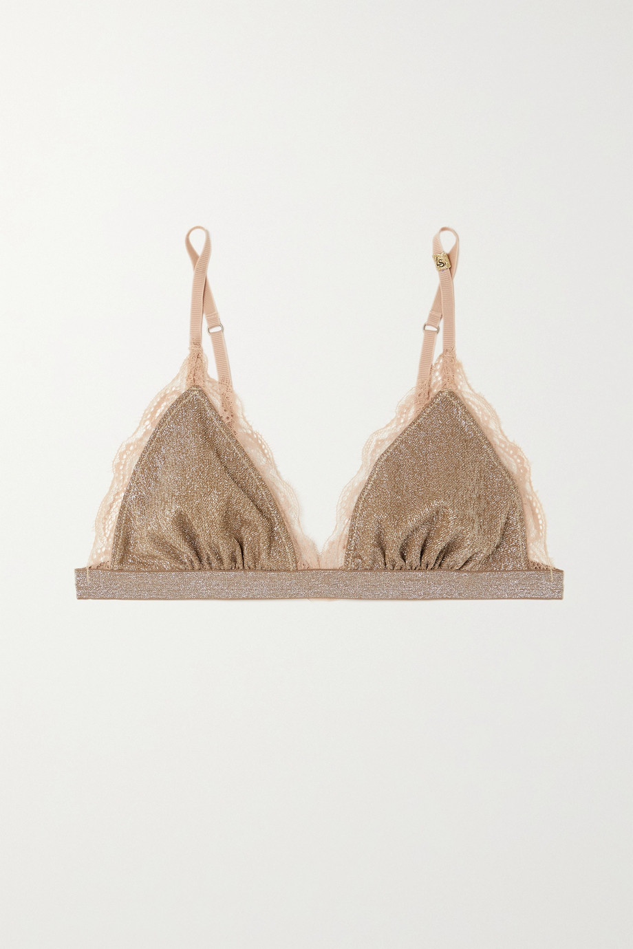 Love Stories Filippa lace-trimmed metallic stretch-jersey soft-cup triangle bra