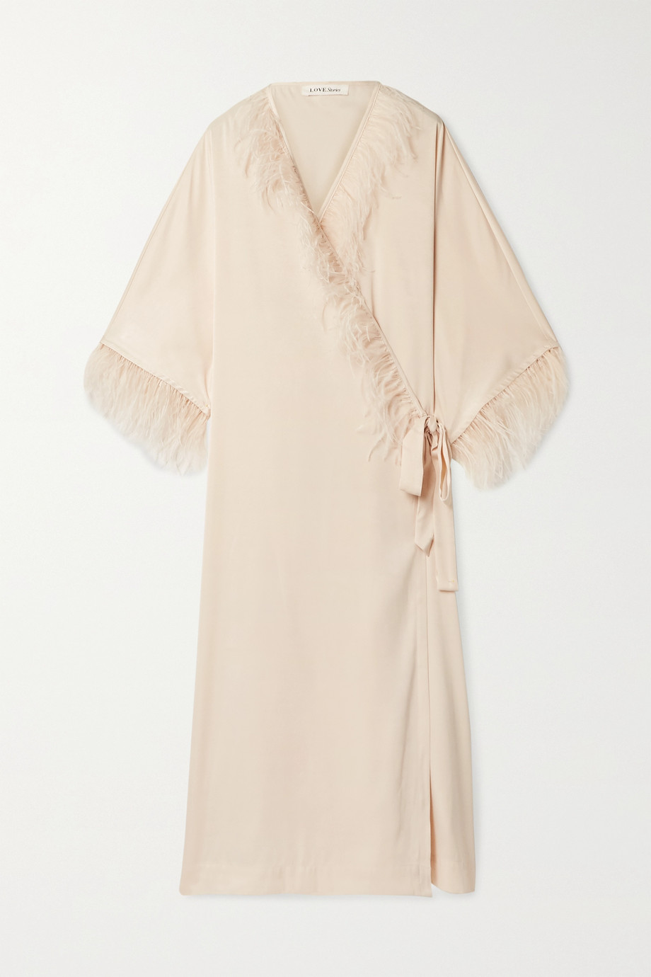 Love Stories Feather-trimmed washed-satin robe