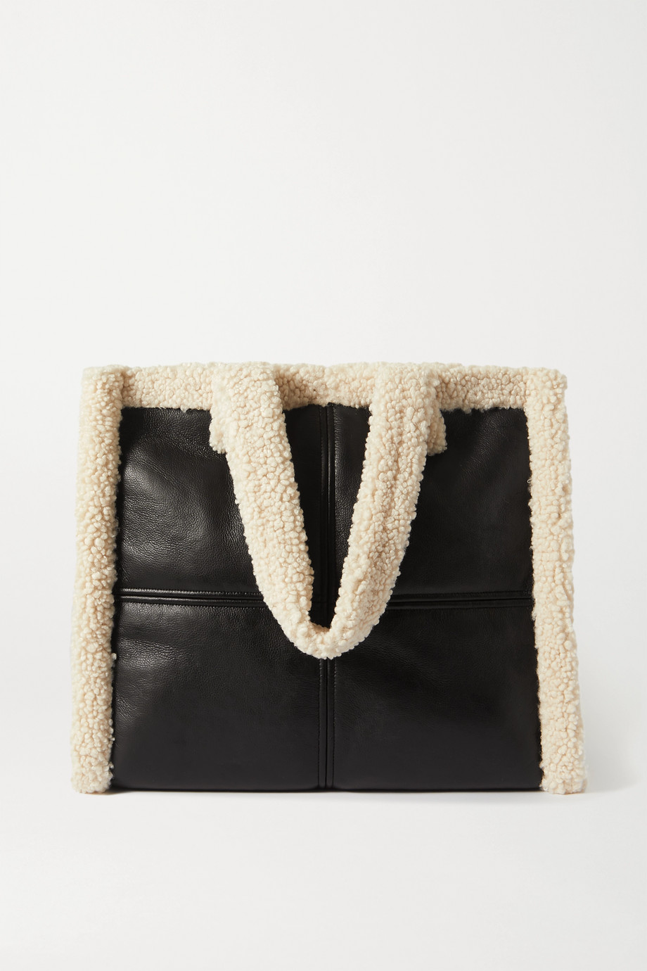 Stand Studio Lola faux shearling-trimmed faux leather tote