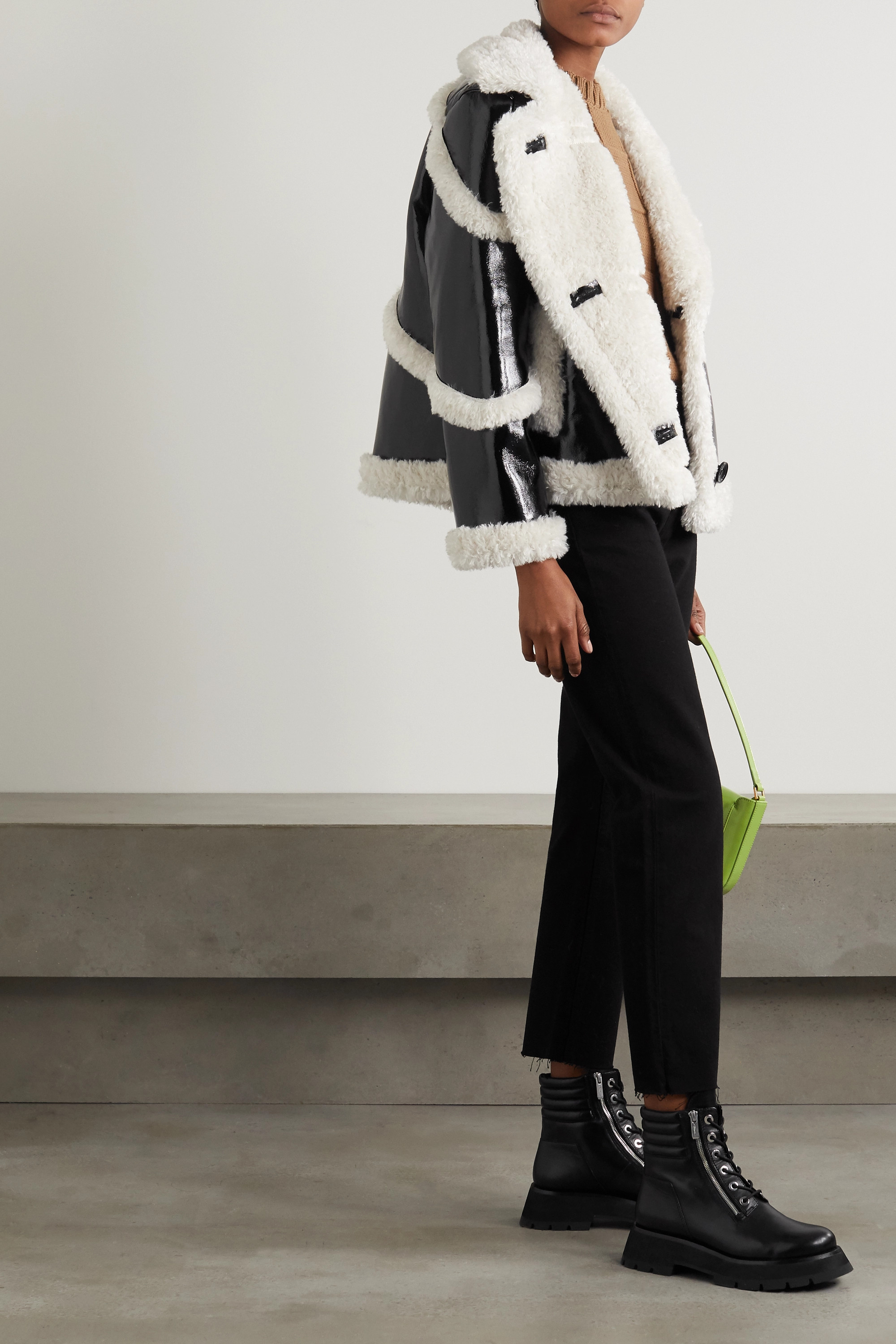 Stand Studio Melendy faux shearling-trimmed faux patent-leather coat