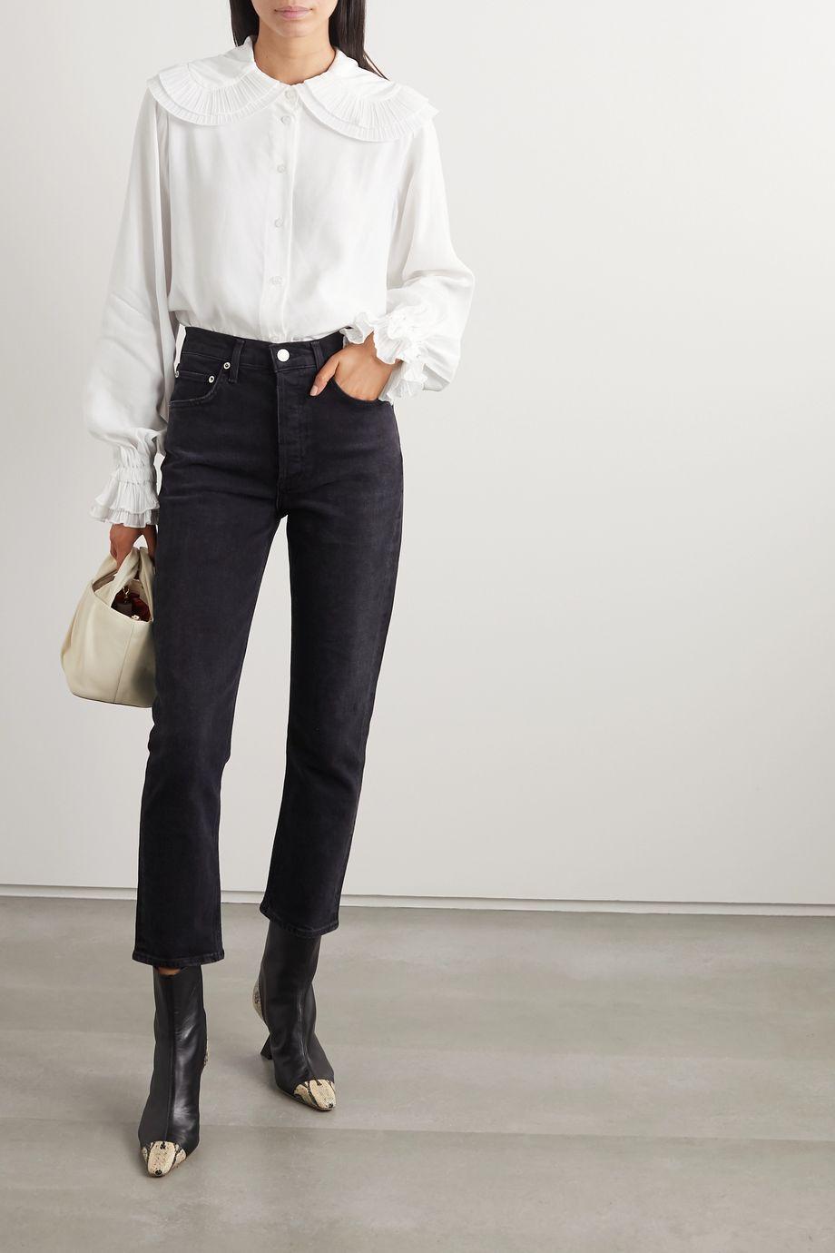 AVAVAV Ruffled chiffon-trimmed crepe blouse