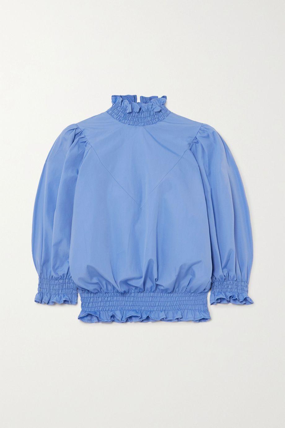 AVAVAV Ruffled smocked cotton-poplin top