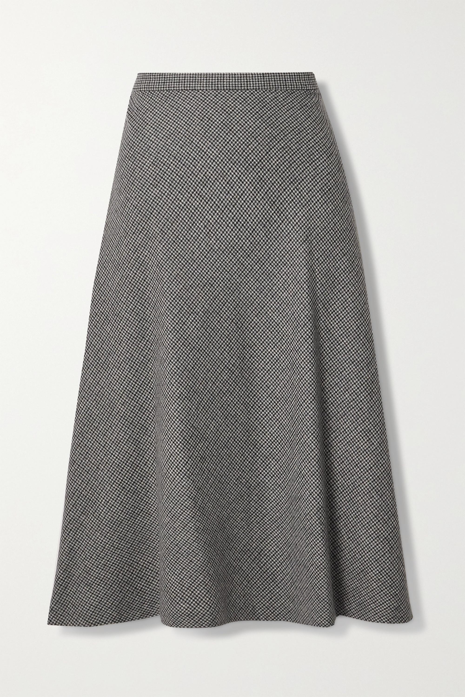 Nili Lotan Alvina Houndstooth Wool-blend Skirt In Gray