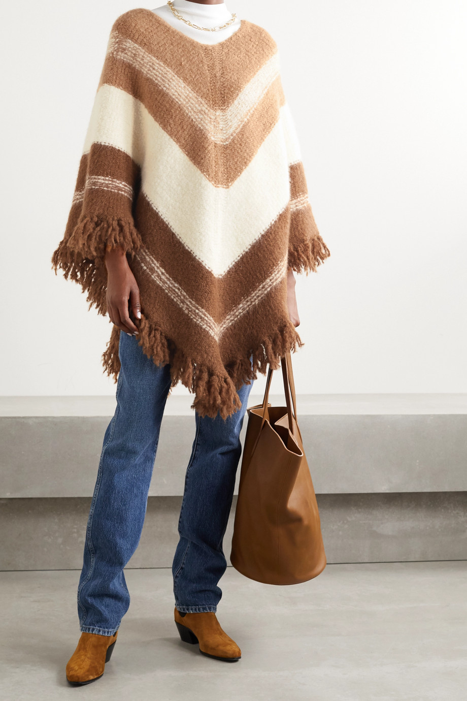 Nili Lotan Ellery fringed striped alpaca-blend poncho