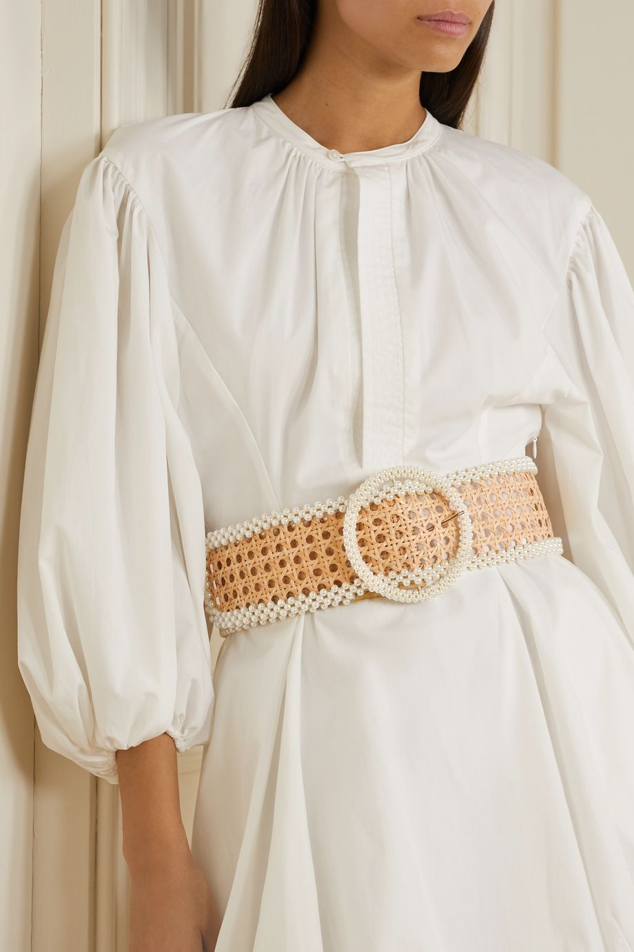 Rosantica Mamba 人造珍珠缀饰柳条腰带