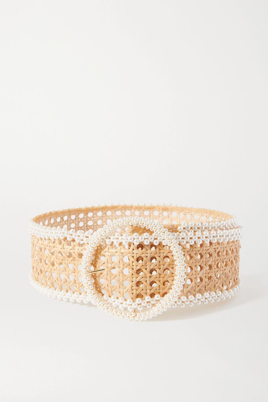 Rosantica Mamba faux pearl-embellished wicker waist belt