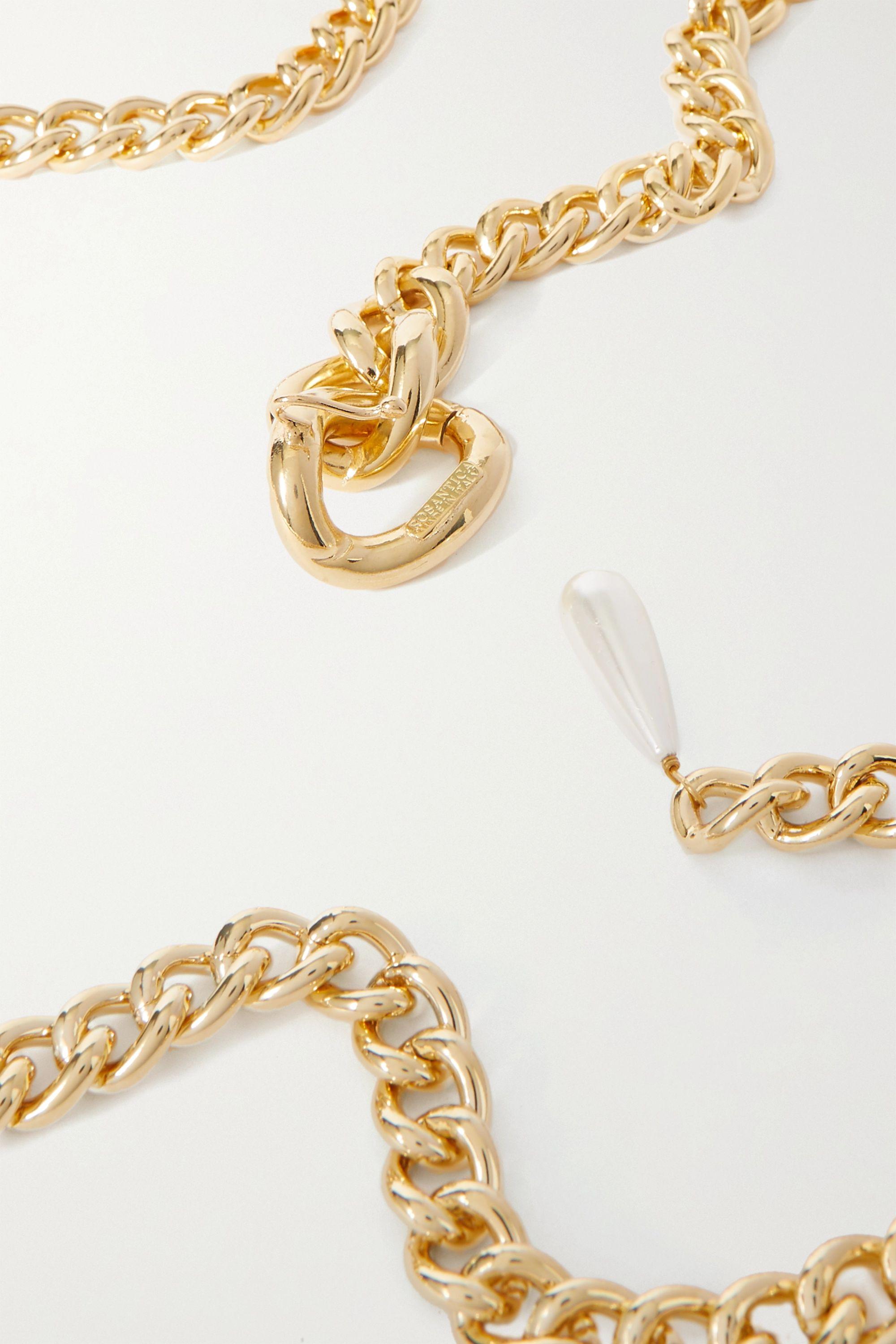 Rosantica Canasta faux-pearl embellished gold-tone belt