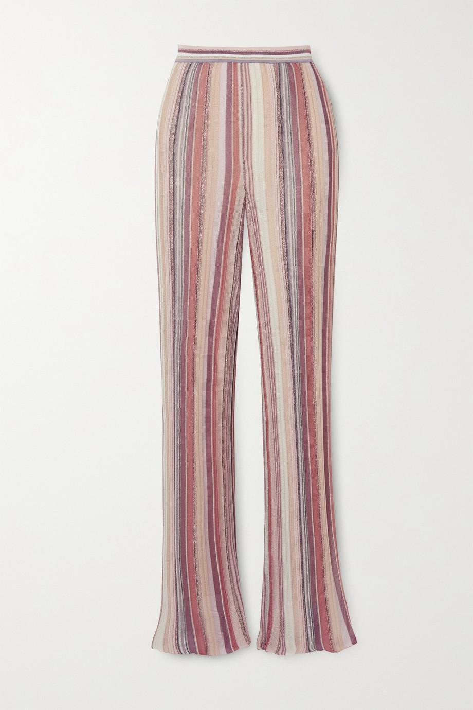 Missoni Hose mit geradem Bein aus gestreiftem Häkelstrick in Metallic-Optik