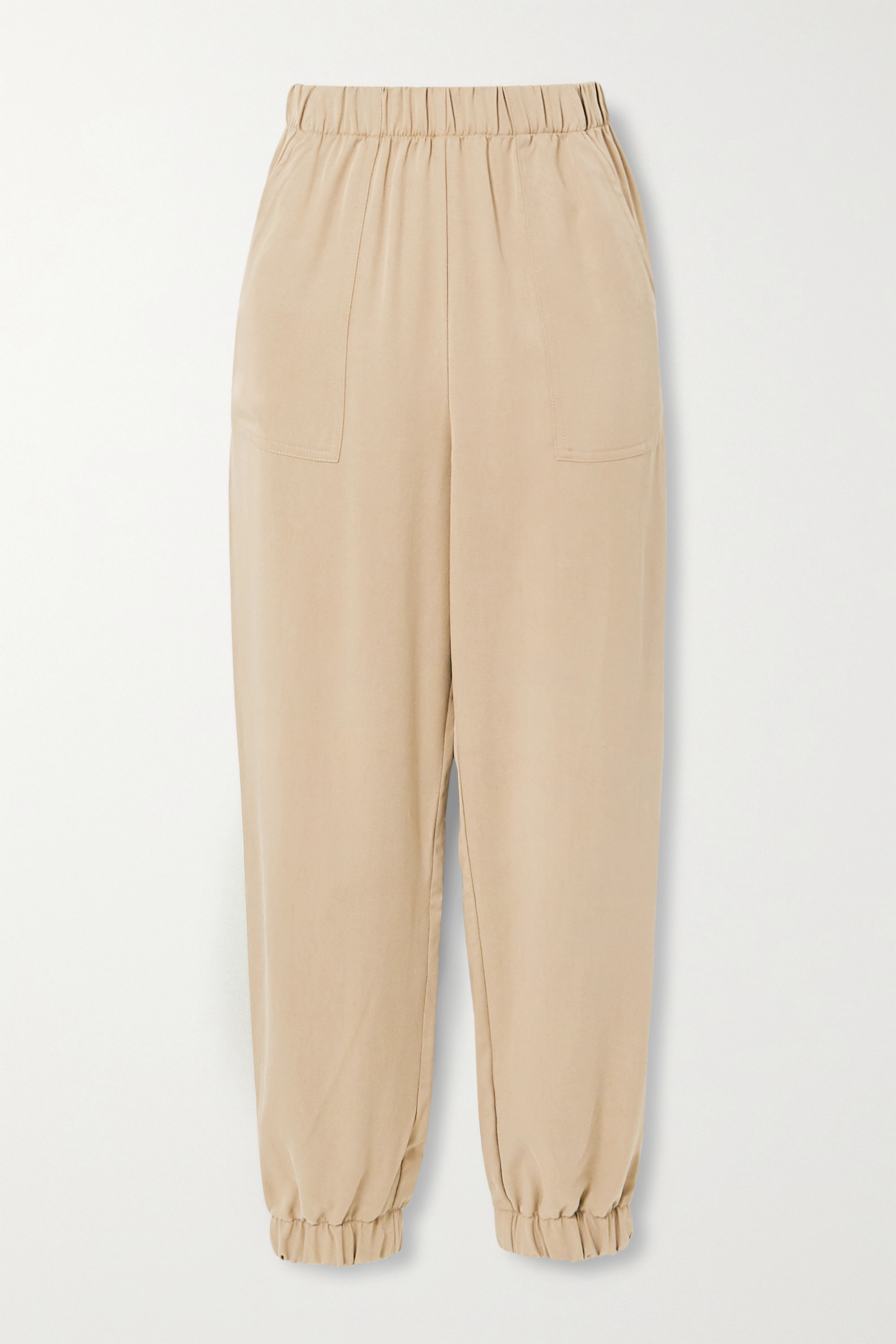 Sand Montana Tencel Twill Tapered Pants Reformation Net A Porter