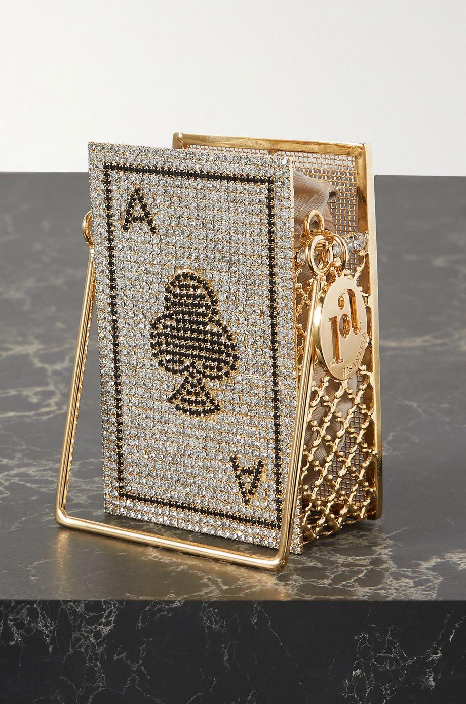 Rosantica Ace of Clubs goldfarbene Schultertasche mit Verzierungen