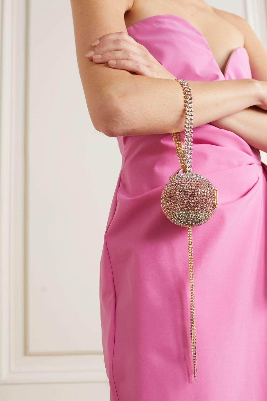 Rosantica Carambola 水晶缀饰金色手提包