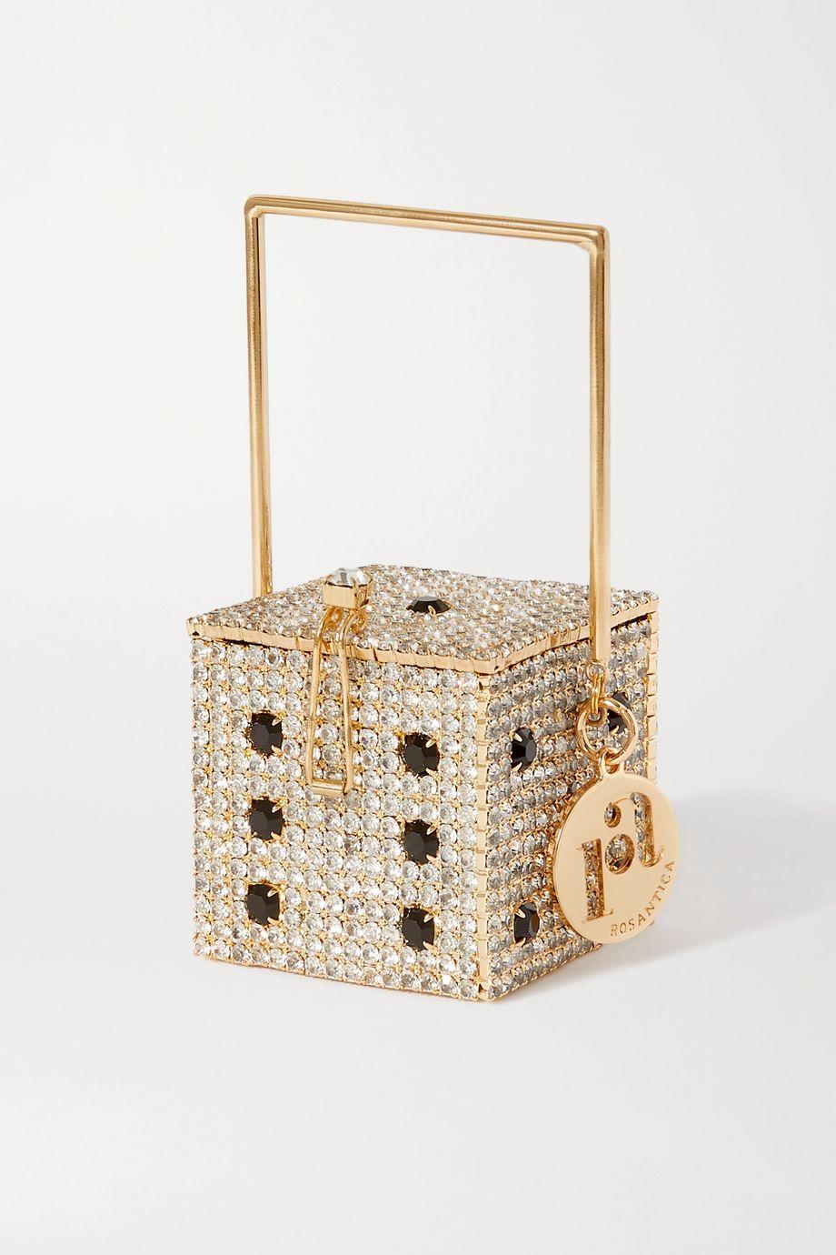 Rosantica Smorfia micro crystal-embellished gold-tone shoulder bag