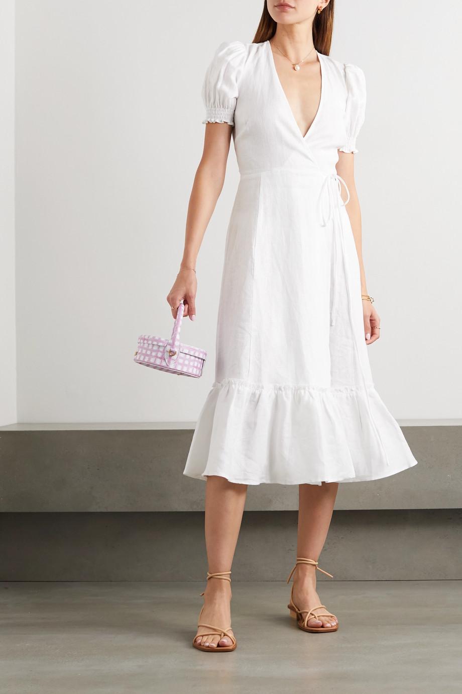 Reformation Veronika linen wrap dress