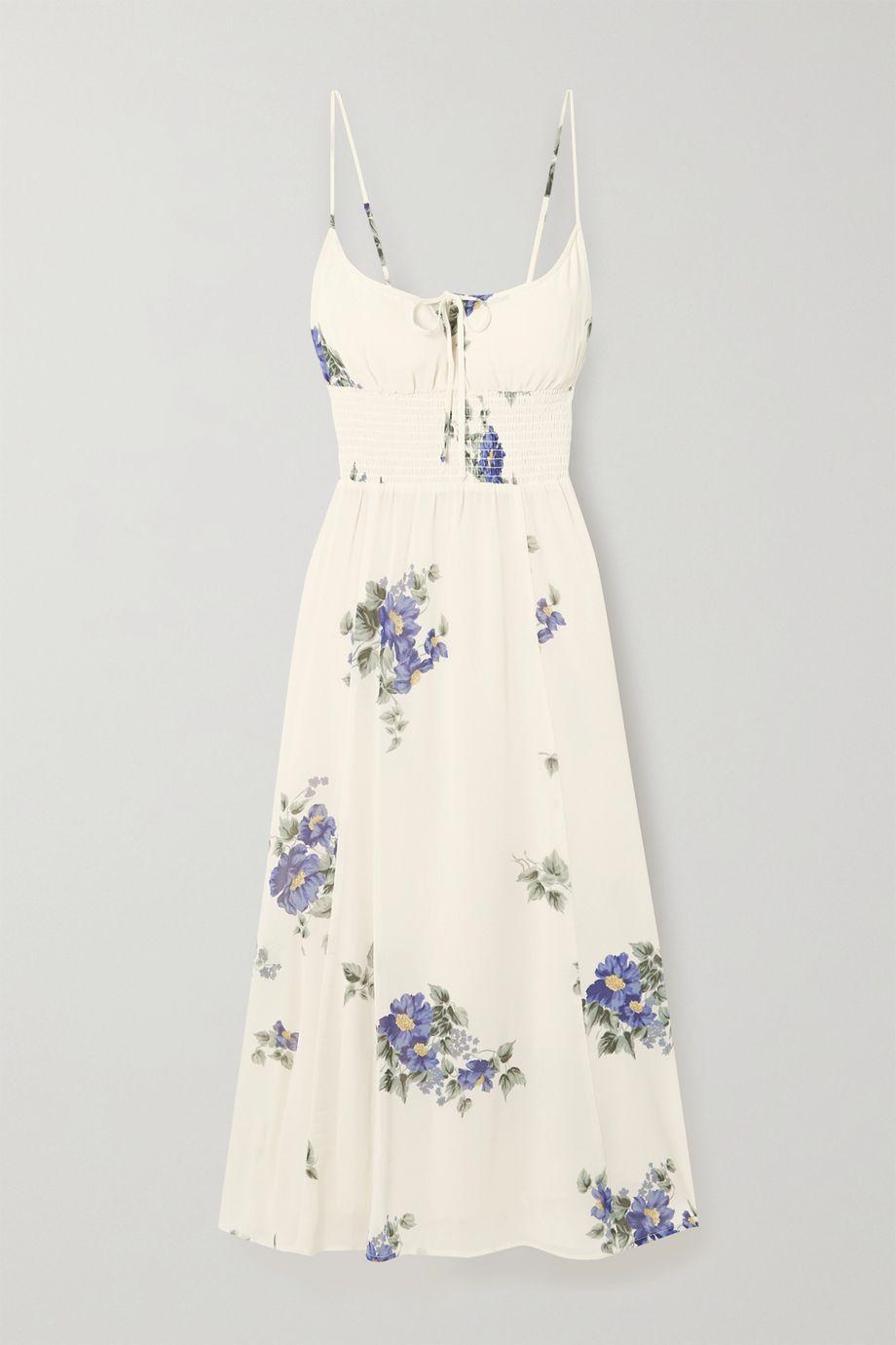 Reformation Bran shirred floral-print georgette midi dress