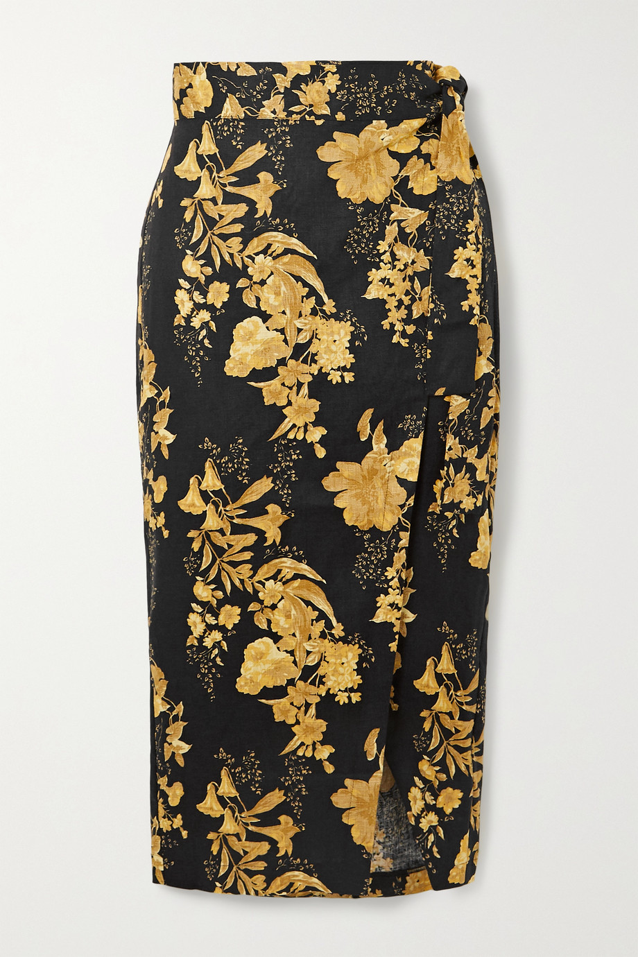 Reformation Florence floral-print linen wrap midi skirt