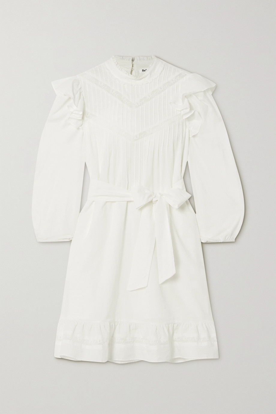 Reformation Dinah lace-trimmed ruffled cotton mini dress
