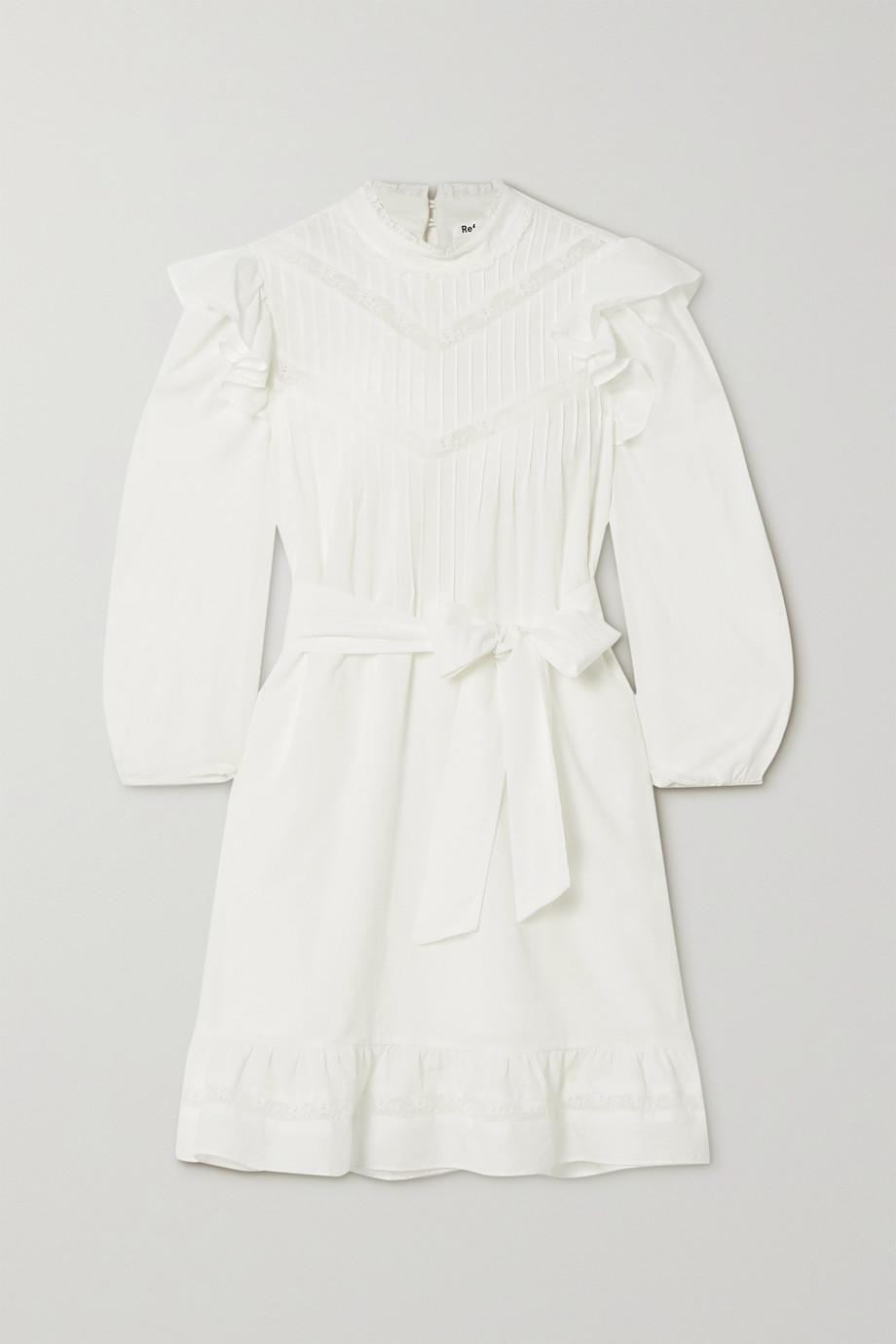Reformation Dinah Minikleid aus Baumwolle mit Rüschen und Spitzeneinsätzen