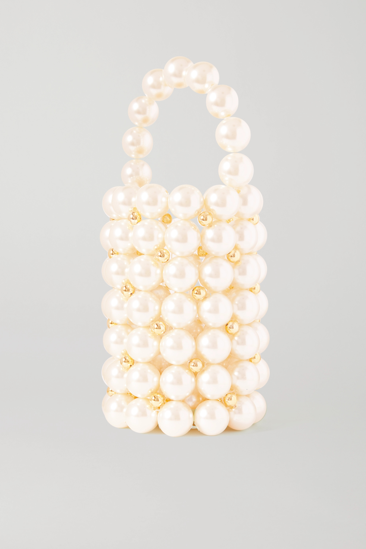 Vanina Le Comino faux pearl and gold-tone beaded tote