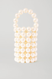 Vanina Le Comino faux pearl and gold-tone beaded tote
