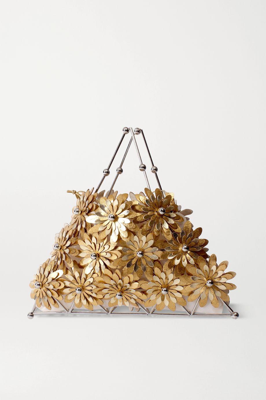 Vanina Fleurs de Soleil 金属感皮革银色手提包