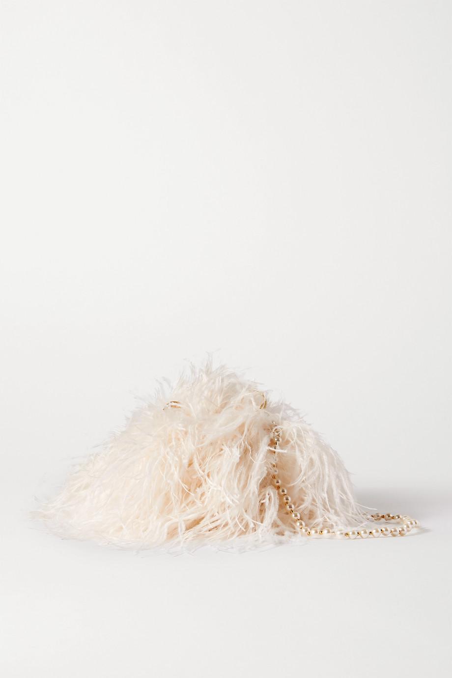 Vanina L'Oiseau Rebelle feather and faux pearl-embellished satin shoulder bag