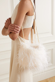 Vanina L'Oiseau Rebelle feather and faux pearl-embellished satin shoulder bag