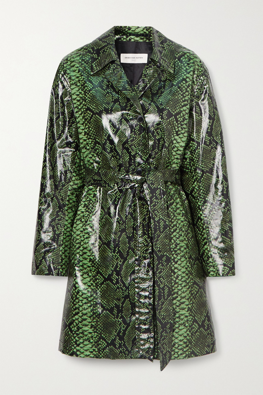 Dries Van Noten Trenchcoat aus einer beschichteten Baumwollmischung mit Schlangenprint