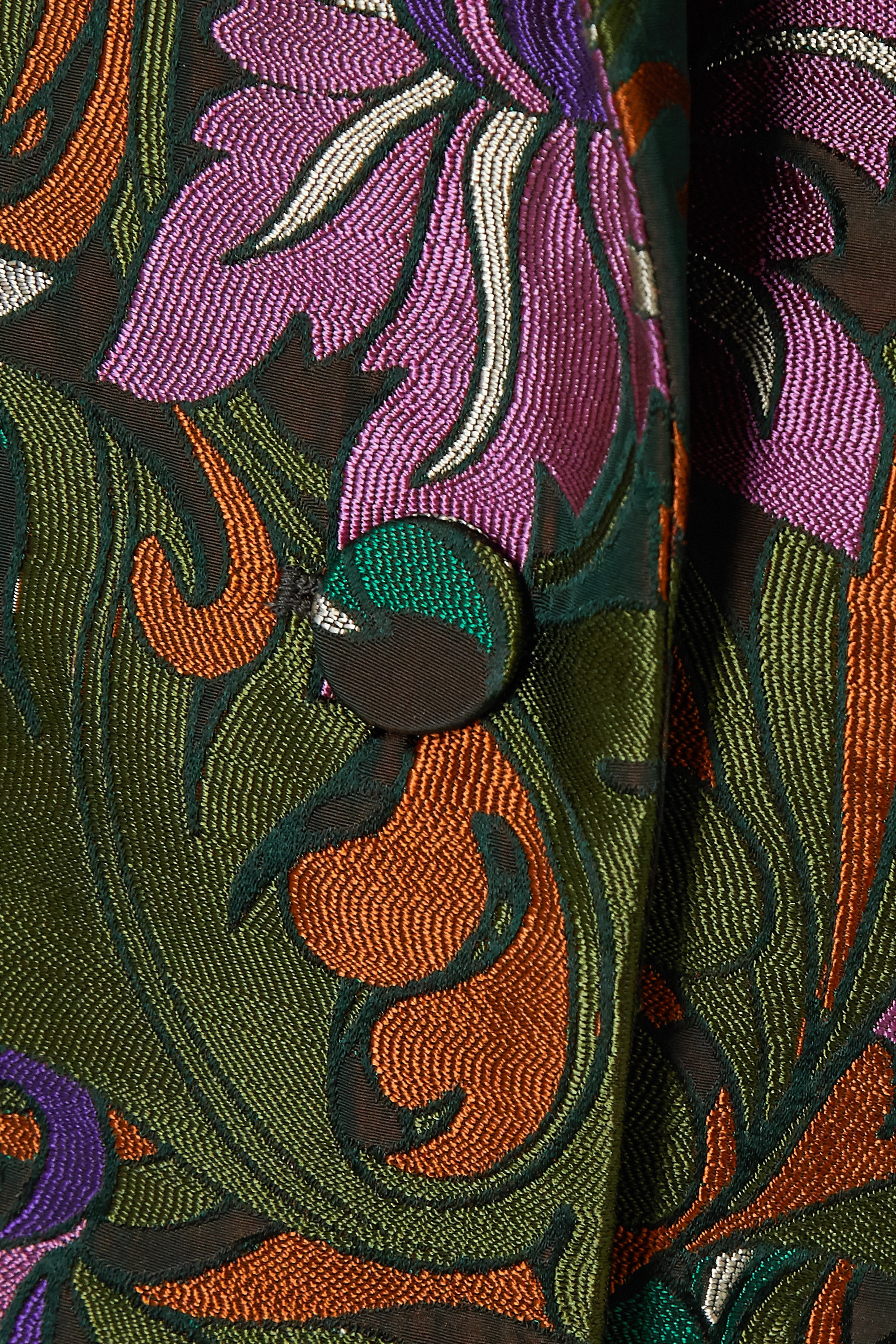 Army Green Floral-jacquard Coat | Dries Van Noten