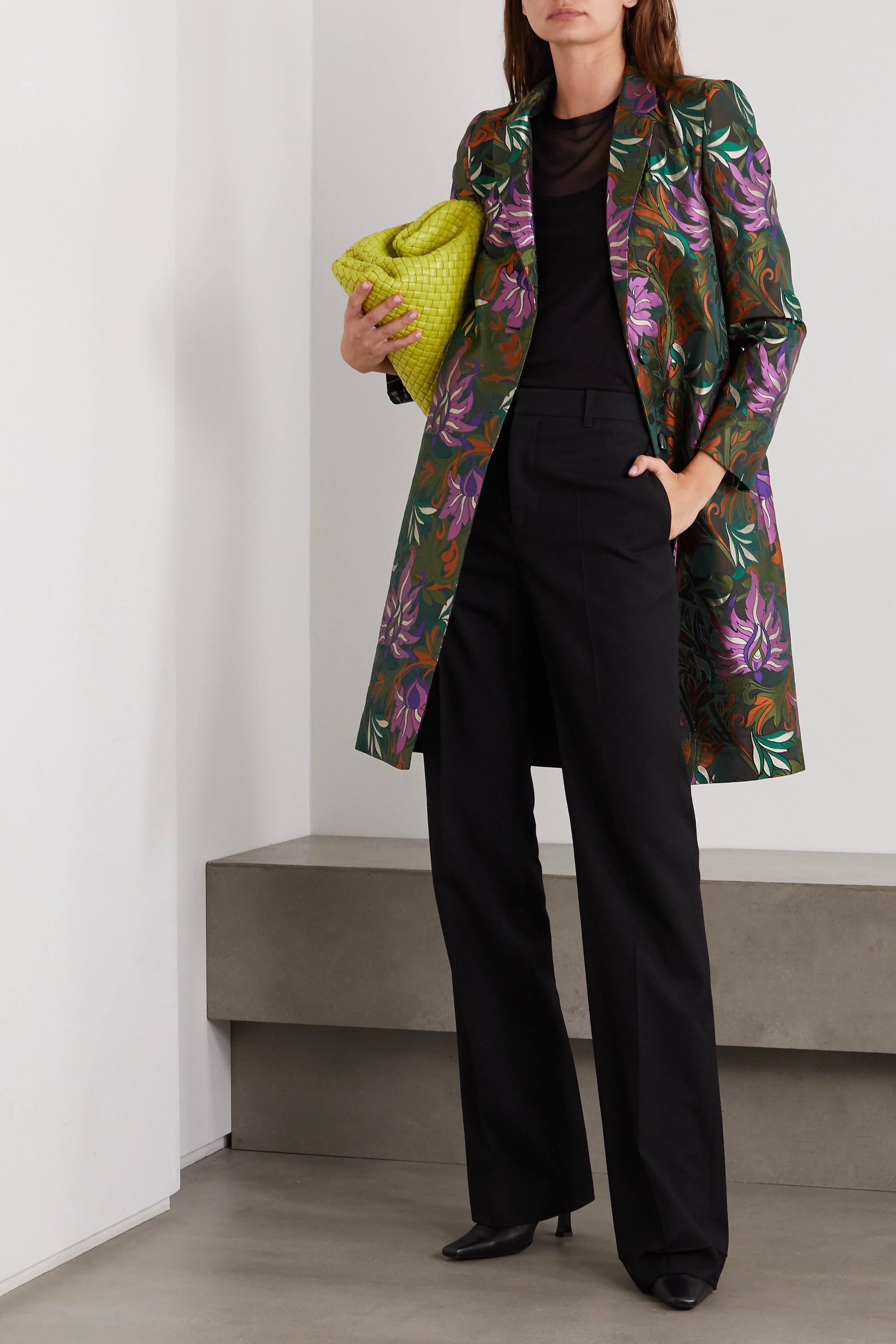 Army Green Floral-jacquard Coat | Dries Van Noten