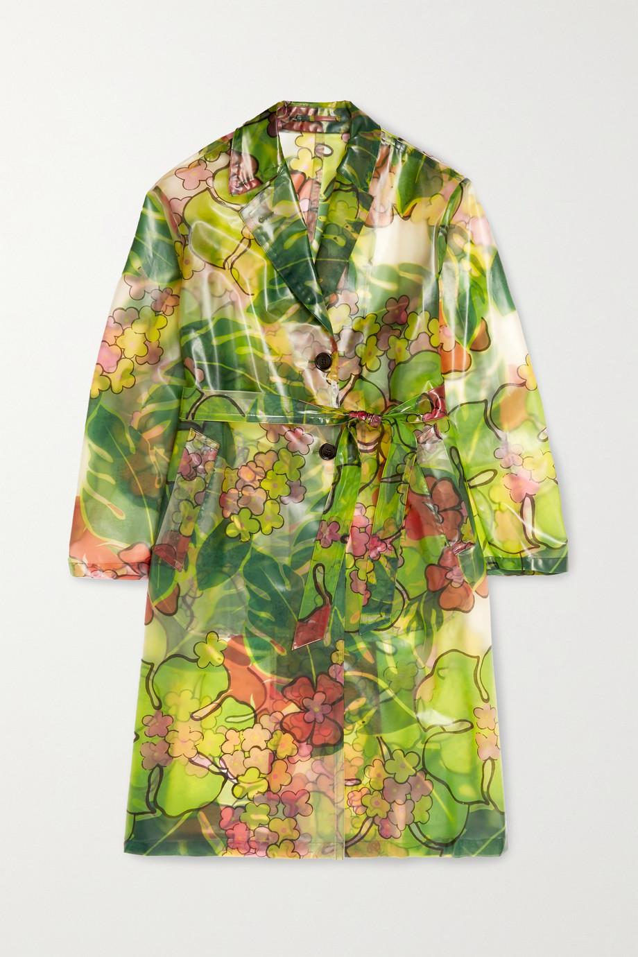 Dries Van Noten Trenchcoat aus PVC mit Blumenprint und Gürtel