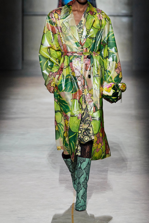 Dries Van Noten Belted floral-print PVC trench coat