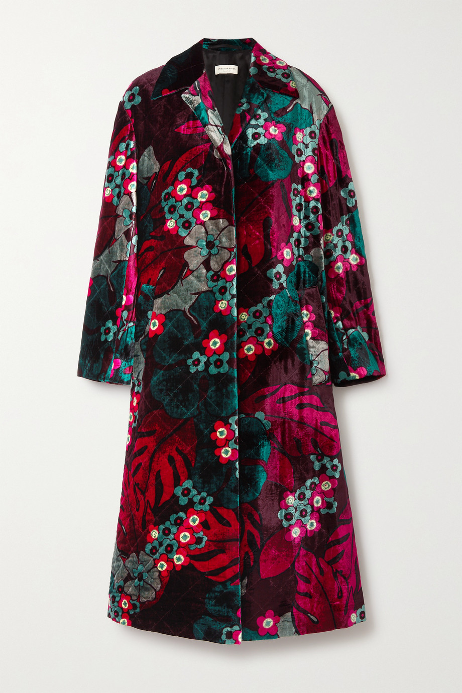 Dries Van Noten Mantel aus gestepptem Samt mit Blumenprint
