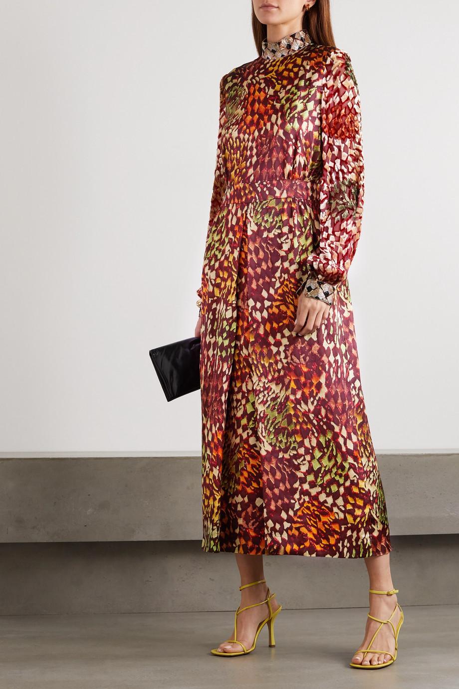 Dries Van Noten Bead-embellished printed satin and flocked chiffon midi dress
