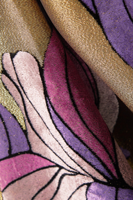 Gold Daia Printed Velvet And Lamé Midi Dress | Dries Van Noten
