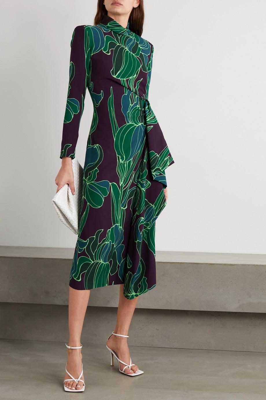 Dries Van Noten Draped floral-print cady midi dress