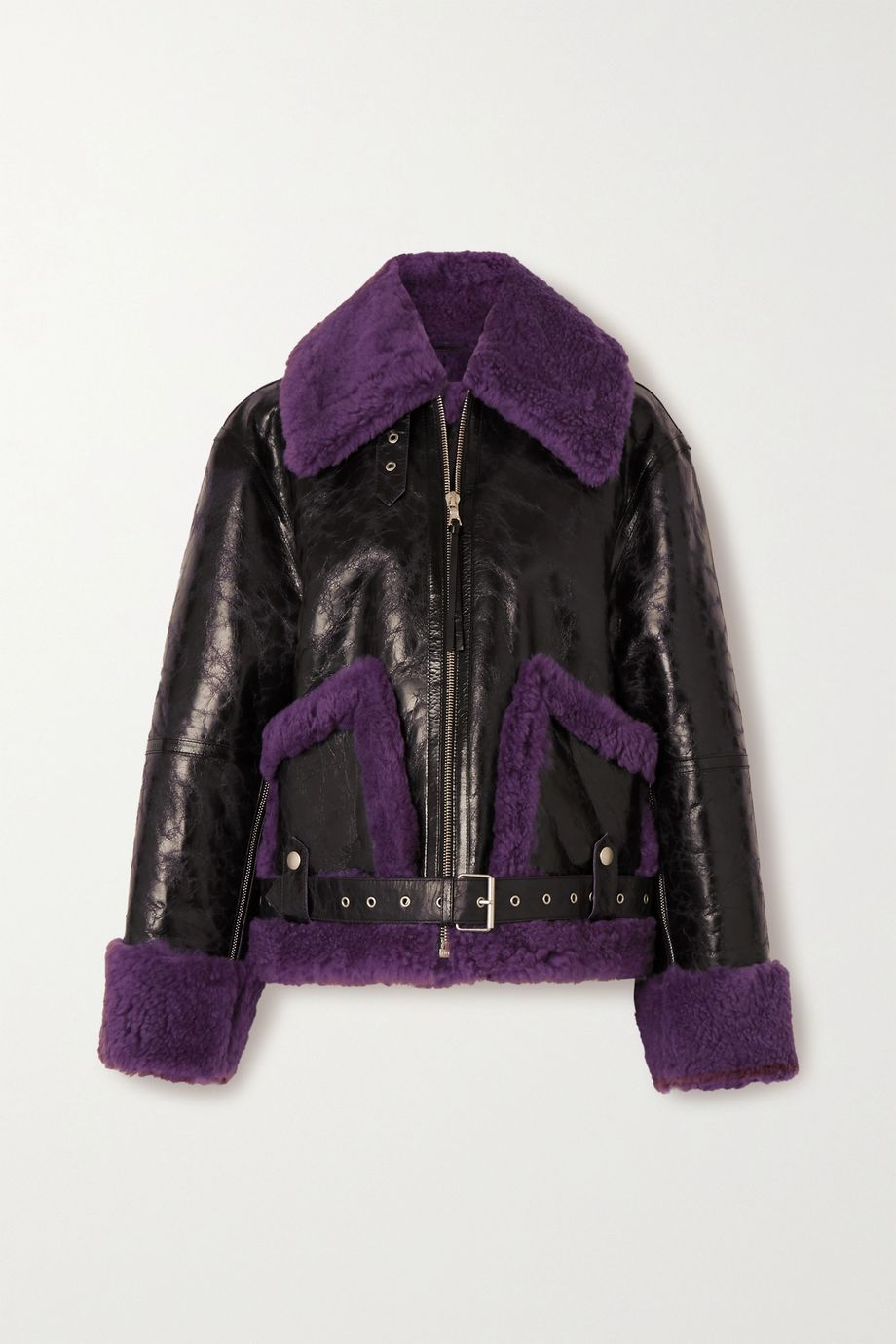 Dries Van Noten Oversized shearling and glossed textured-leather jacket